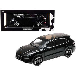 2017 Porsche Cayenne Turbo S Black Limited Edition to 504 pieces Worldwide 1/18 Diecast Model Car by Minichamps