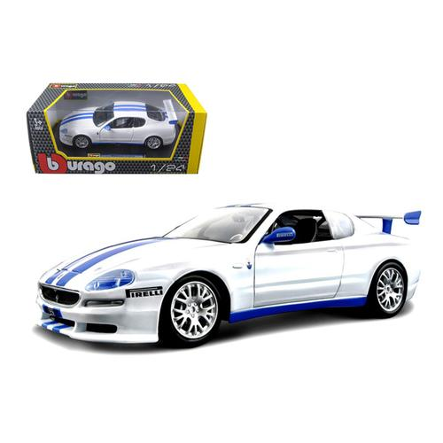 Maserati Trofeo White/Blue 1/24 Diecast Car Model by Bburago