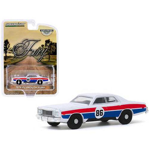 "1976 Plymouth Fury #86 White with Red and Blue Stripes ""Hazzard County Road Rally"" ""Hobby Exclusive"" 1/64 Diecast Model Car by Greenlight"