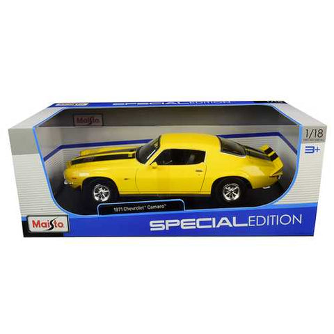 1971 Chevrolet Camaro Yellow with Black Stripes 1/18 Diecast Model Car by Maisto