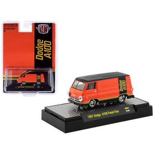 "1967 Dodge A100 Panel Van Orange and Black ""Hobby Exclusive"" Limited Edition to 3600 pieces Worldwide 1/64 Diecast Model Car by M2 Machines"