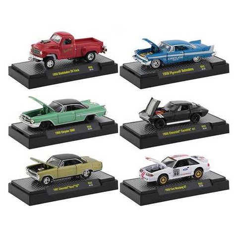 """Auto Meets"" Set of 6 Cars IN DISPLAY CASES Release 52 1/64 Diecast Model Cars by M2 Machines"