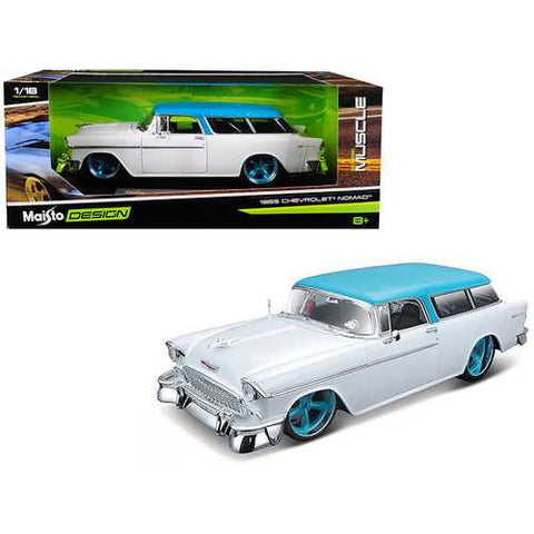 "1955 Chevrolet Bel Air Nomad Metallic White with Blue Top ""Classic Muscle"" 1/18 Diecast Model Car by Maisto"