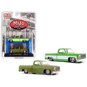 "1975 Chevrolet Silverado Pickup Truck Bright Green with 1975 Chevrolet Silverado Pickup Truck Green (Dirty Version) Set of 2 pieces with Auto-Lift ""MiJo Speed Shop"" Limited Edition to 7200"