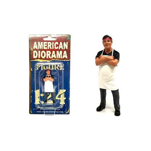 Food Truck Chef Victor Figure for 1/24 Scale Models by American Diorama