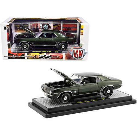 1969 Chevrolet Camaro SS 396 Fathom Green Metallic with Black Stripes Limited Edition to 5880 pieces Worldwide 1/24 Diecast Model Car by M2 Machines