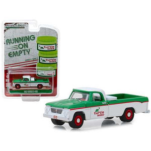 "1962 Dodge D-100 ""Turtle Wax"" Pickup Truck White and Green ""Running on Empty"" Series 7 1/64 Diecast Model Car by Greenlight"