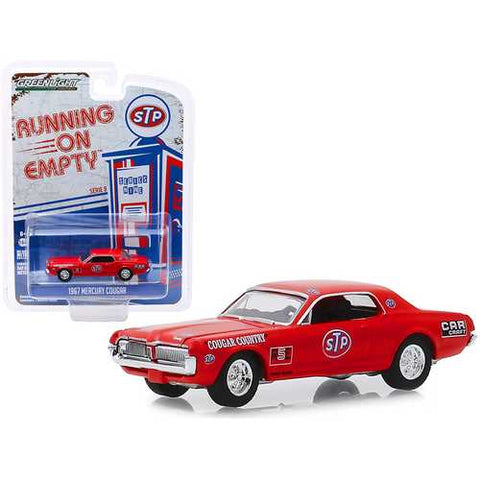 "1967 Mercury Cougar Red ""STP"" ""Cougar Country"" ""Running on Empty"" Series 9 1/64 Diecast Model Car by Greenlight"
