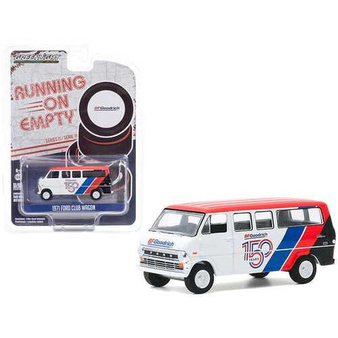 "1971 Ford Club Wagon Bus White and Red with Stripes ""BFGoodrich 150th Anniversary"" ""Running on Empty"" Series 11 1/64 Diecast Model by Greenlight"