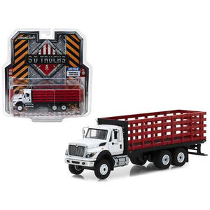 2018 International WorkStar Platform Stake Truck White Cab and Red Body S.D. Trucks Series 5 1/64 Diecast Model by Greenlight