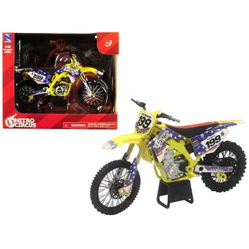 Suzuki RMZ450 Nitro Circus #199 Travis Pastrana Yellow/Blue 1/12 Diecast Motorcycle Model by New Ray