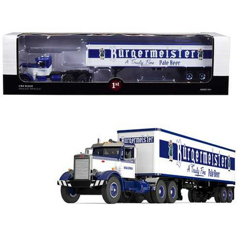 "Peterbilt 351 Day Cab with 40' Vintage Trailer ""Burgermeister"" Blue and White 25th in a ""Fallen Flags Series"" 1/64 Diecast Model by First Gear"