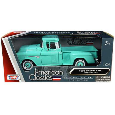 "1955 Chevrolet 5100 Stepside Pickup Truck Turquoise with Whitewall Tires ""American Classics"" 1/24 Diecast Model Car by Motormax"