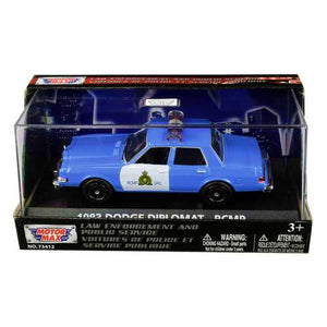 "1983 Dodge Diplomat ""Royal Canadian Mounted Police"" (RCMP) Light Blue and White 1/43 Diecast Model Car by Motormax"