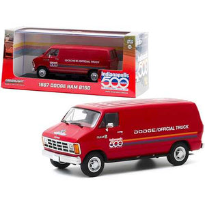 "1987 Dodge Ram B150 Van Red with Stripes ""71st Annual Indianapolis 500 Mile Race"" Official Truck 1/43 Diecast Model by Greenlight"