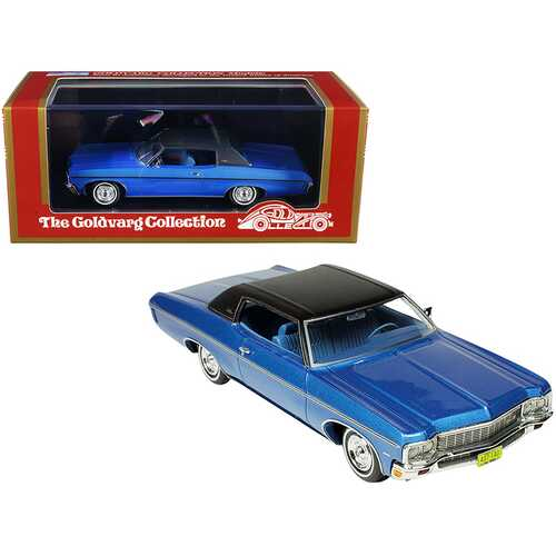 1970 Chevrolet Impala Custom Coupe Mulsanne Blue Metallic with Matt Black Top Limited Edition to 220 pieces Worldwide 1/43 Model Car by Goldvarg Collection