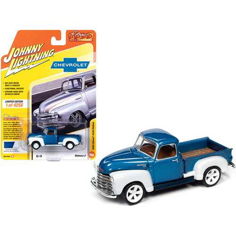 "1950 Chevrolet 3100 Pickup Truck Custom Blue Metallic and White ""Classic Gold Collection"" Limited Edition to 4256 pieces Worldwide 1/64 Diecast Model Car by Johnny Lightning"