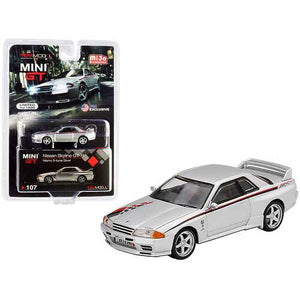 Nissan Skyline GT-R (R32) Nismo S-Tune RHD (Right Hand Drive) Silver with Red and Black Graphics Limited Edition to 1200 pieces Worldwide 1/64 Diecast Model Car by True Scale Miniatures