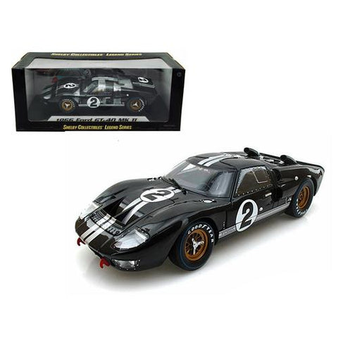 1966 Ford GT-40 MK II #2 Black 1/18 Diecast Model Car by Shelby Collectibles
