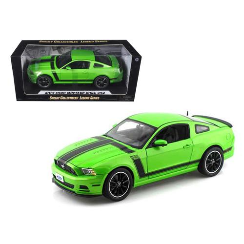 2013 Ford Mustang Boss 302 Green with Black Stripes 1/18 Diecast Model Car by Shelby Collectibles