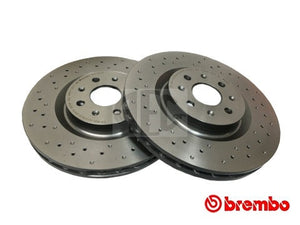Brembo drilled front brake discs Abarth Punto. O.E. Part Number: 50902166, 51778054, 51822457.