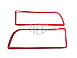 Red Plastic Trim Surround Set for Front Grille for Lancia Delta Integrale & Evolution (1986-1995) HF 4WD Red plastic grille surround that fit between the stainless grill surround and the black plastic mesh. O.E. Part Number: 82438149, 82438150