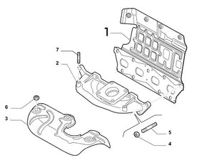 Exhaust manifold gasket with incorporated heat shield Abarth 500 595. O.E. Part Number: 55222260.