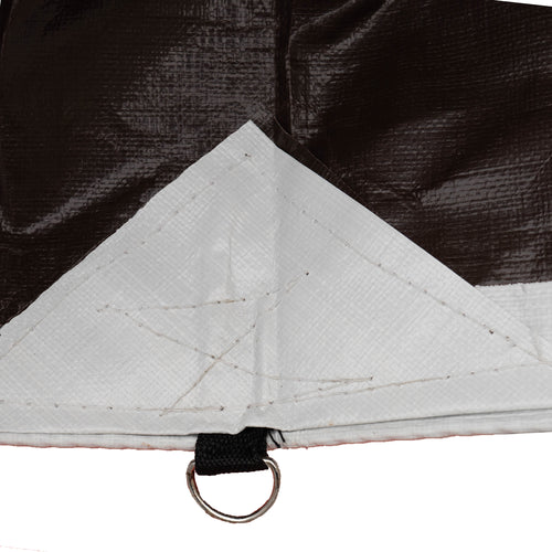HydraTarp® Premium Duty Waterproof Tarp - 18 Mil Thick - White / Brown Reversible Tarp with D-Rings