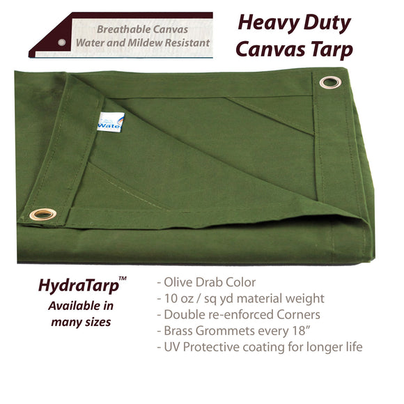HydraTarp Canvas Olive Drab Tarp by Watershed Innovations
