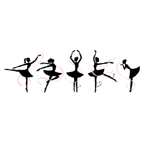 Five Ballerinas Paint-by-Number Wall Mural