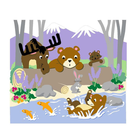 Bear-ly Fishing Paint-by-Number Wall Mural