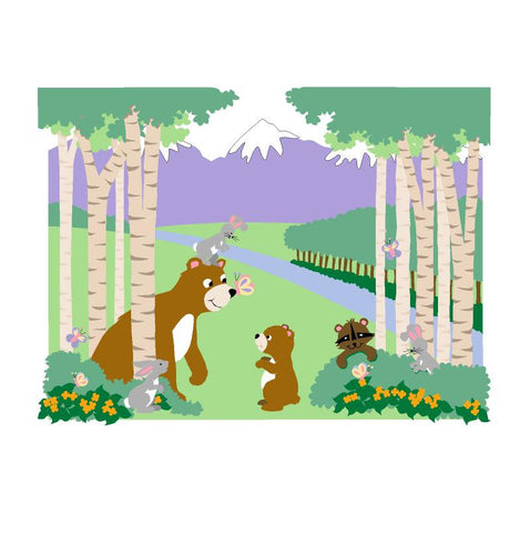Bears & Butterflies Paint-by-Number Wall Mural