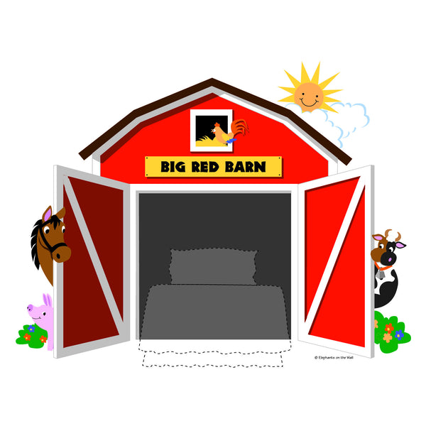 Big red barn chalkboard paint by number wall mural for Barnyard wall mural