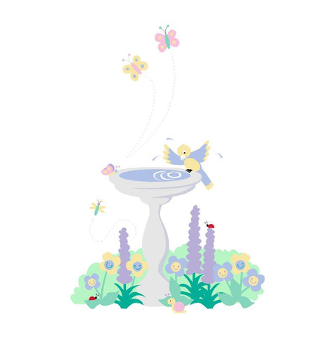 Birdbath Paint-by-Number Wall Mural