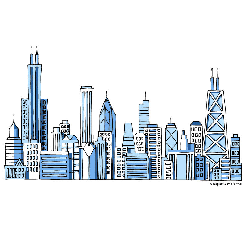 Chicago Skyline Paint By Number Mural Elephants On The Wall