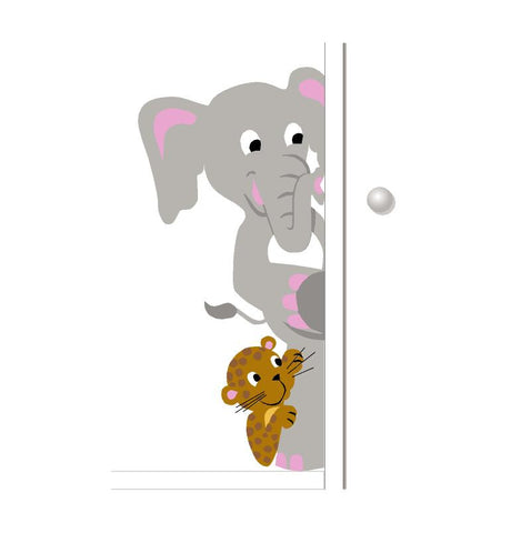 Elephant & Leopard Doorhugger Paint-by-Number Mural