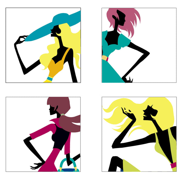 Fashionista Four Paint-by-Number Wall Mural