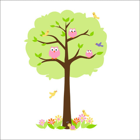 Feathery Friends One - Pink & Green Paint-by-Number Mural