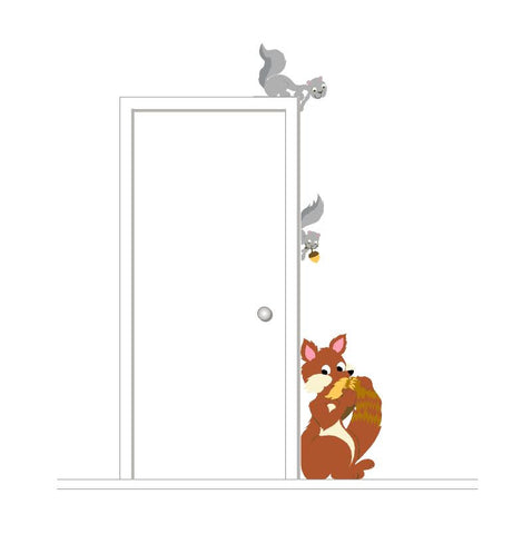 Fox & Squirrel Doorhugger Paint-by-Number Wall Mural