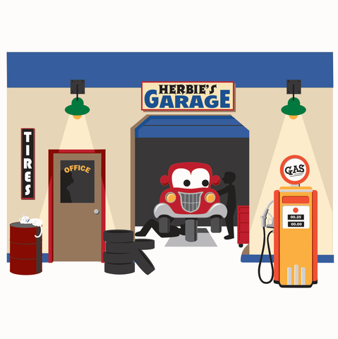 Herbie's Garage - Small Paint-by-Number Wall Mural