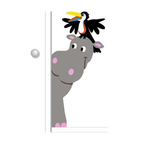 Hippo & Toucan Doorhugger Paint-by-Number Wall Mural