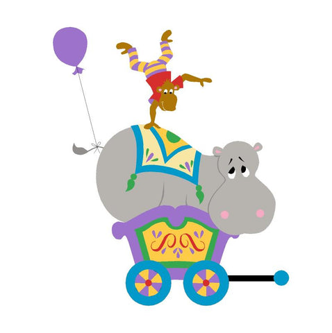Hippo & Monkey Circus Car Wall Mural