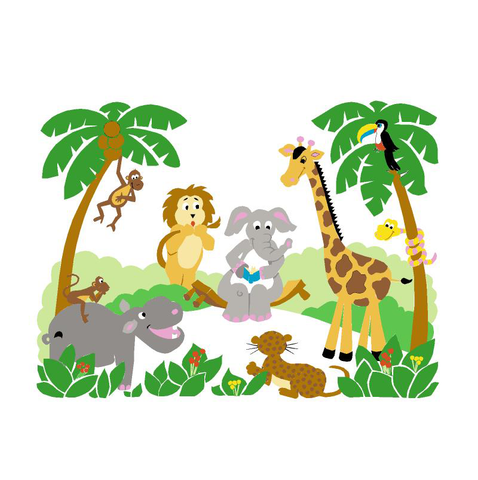 Jungle Story - Small Paint-by-Number Wall Mural