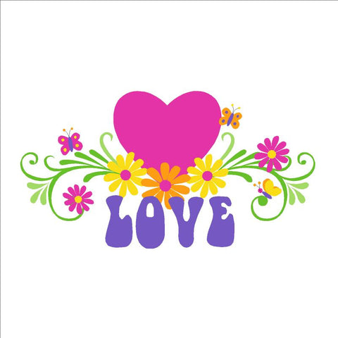 LOVE & Flowers Paint-by-Number Wall Mural - Large