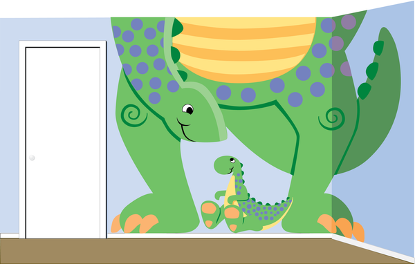 Mega Dino Paint-by-Number Wall Mural - Elephants on the Wall