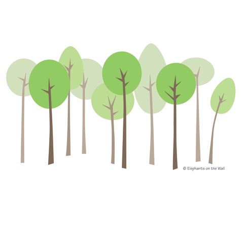 Mod Trees - Small Paint-by-Number Wall Mural