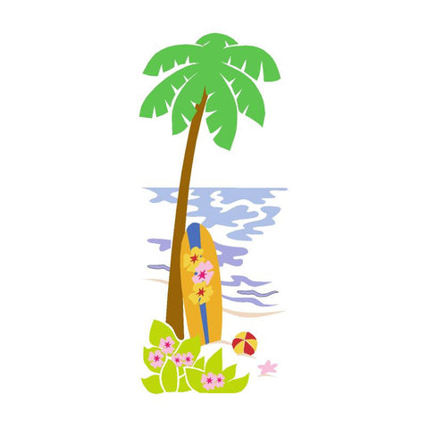 Palm Tree & Surfboard Paint-by-Number Wall Mural