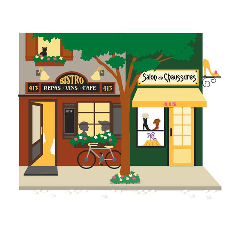 Bistro & Shoe Store Paint-by-Number Wall Mural
