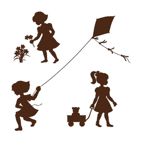 Silhouette Girls Wall Mural