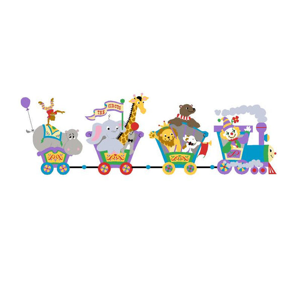 Small Circus Train Paint-by-Number Wall Mural